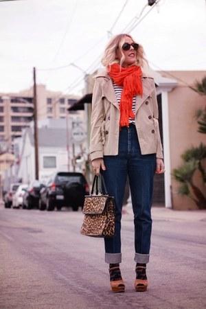 light brown Sam Edeleman wedges - blue Elsewhere Vintage jeans