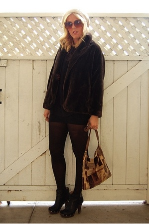 vintage coat - vintage hat - vintage shirt - Jeffery Campbell shoes - vintage pu