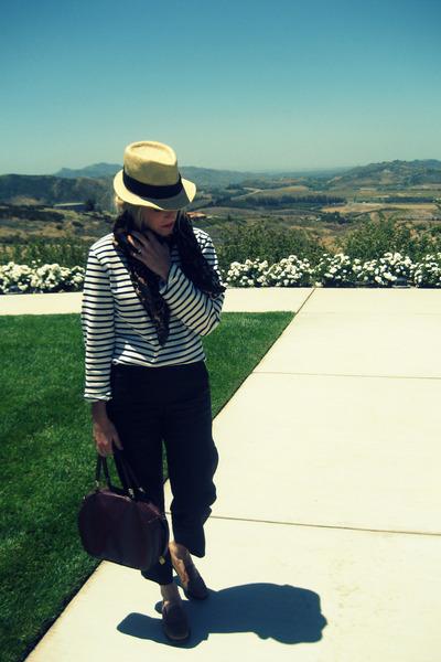 white St James shirt - black vintage pants - brown Bass shoes - brown vintage pu