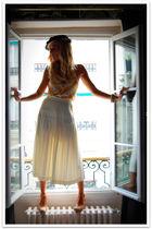 blue vintage hat - yellow Quiksilver Women top - white vintage skirt - brown Max
