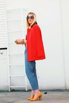 yellow Aldo heels - carrot orange crossroads jacket