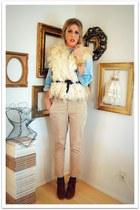 eggshell vintage vest - tan banana republic pants - dark brown Colin Stuart boot