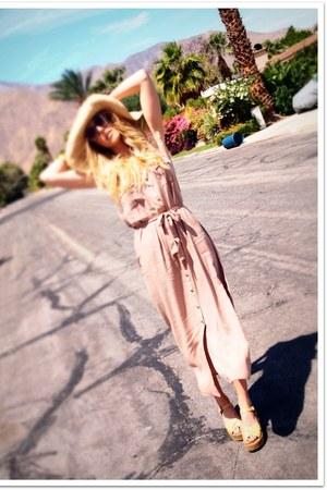 camel modcloth dress - camel vintage hat - black vintage sunglasses