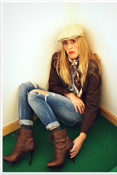 dark brown jessica simspon boots - blue madewell dress - dark brown Chaps blazer