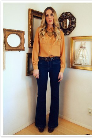 navy Forever 21 jeans - burnt orange vintage blouse - dark brown Charles David v