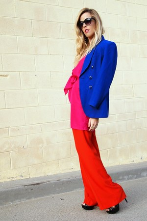 vintage blazer - Elsewhere Vintage dress - Zara pants