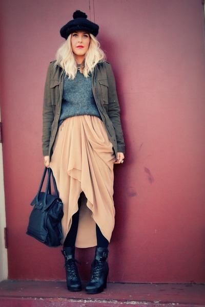 dark khaki American Apparel skirt - black Jeffrey Campbell boots