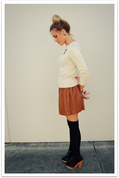 black Steve Madden shoes - beige BDG sweater - brown Quail Vintage skirt