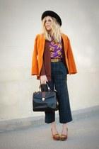 dark green vintage pants - black vintage hat - tawny Vintage Gaultier blazer