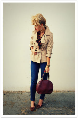 brown Vintage from Civvies shirt - beige Target jacket - blue bdg from urban out