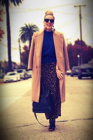 camel vintage coat - dark brown Macys dress - blue thrifted sweater