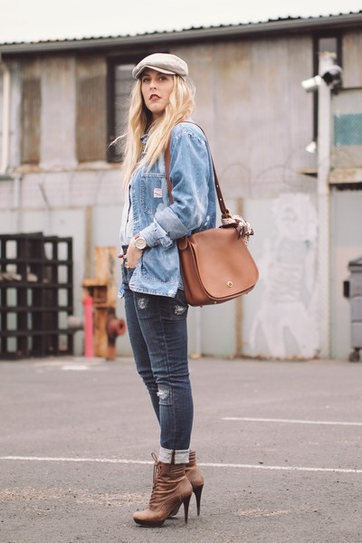 timex watch - Jessica Simpson boots - QSW jeans - coach bag - vintage blouse