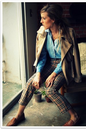 beige Target jacket - dark brown thrifted pants - sky blue thrifted vintage blou
