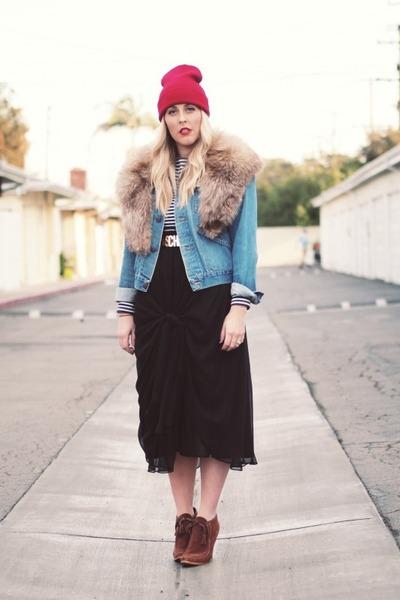 brown Colin Stuart boots - ruby red Target hat - blue vintage jacket