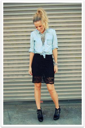 black ann taylor skirt - blue thrifted shirt - black Jeffrey Campbell boots