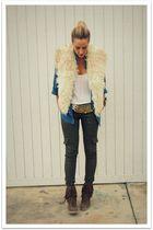 beige vintage vest - brown Marino shoes - blue H&M shirt