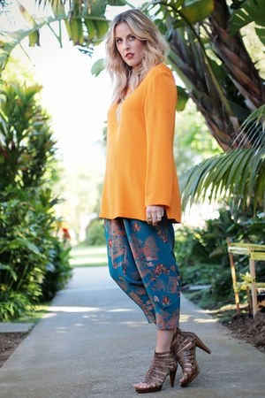 teal thrifted pants - carrot orange thrifted vintage shirt