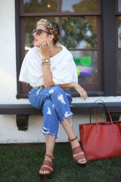 Gorjana bracelet - rabeanco bag - Karen Walker sunglasses - crossroads sandals