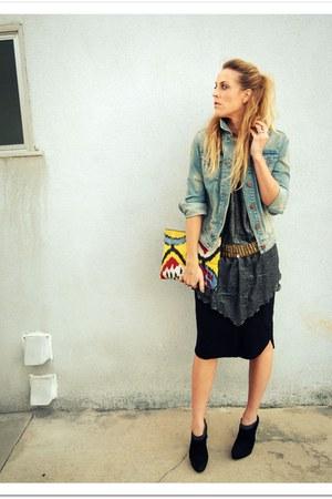 black Prada via Crossroads boots - sky blue QSW jacket - heather gray vintage to