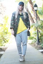 dark green Army Navy jacket - yellow Zara t-shirt - silver Crossroads Find pants
