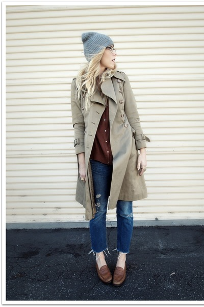 dark brown Bass shoes - brown vintage coat - crimson MNG by Mango JCPenney sweat