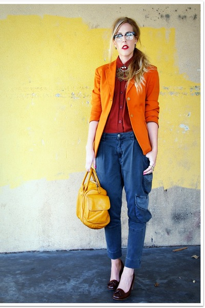carrot orange Vintage Gaultier blazer - brick red crossroads shirt - gray Repeat