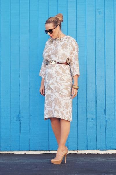 dark khaki vintage dress - dark brown Moschino belt - tan Aldo heels