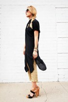 gold thrifted vintage dress - black QSW blouse - camel Nine West sandals