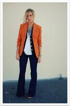 orange Vintage Jean Paul Gaultier jacket - black vintage vest - white Quiksivler