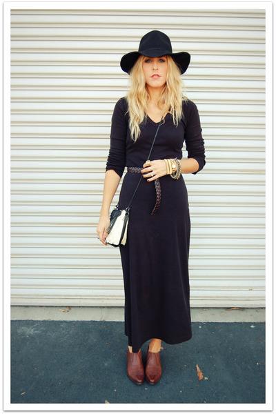 black vintage dress - black Target hat - brown vintage shoes 20bab23d3c8