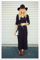 black vintage dress - black Target hat - brown vintage shoes