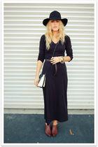 black vintage dress - black Target hat - brown vintage shoes