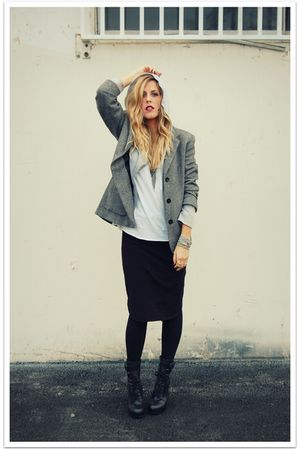 gray Zara jacket - white QSW top - black QSW skirt - black Jeffrey Campbell boot