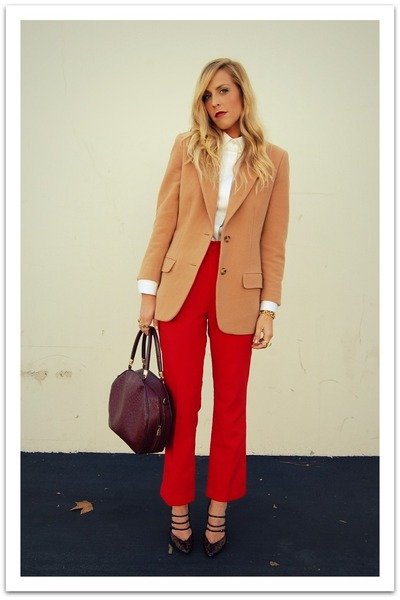 camel Liz Clairborne blazer - white MNG Mango for JCPenney blouse - red vintage