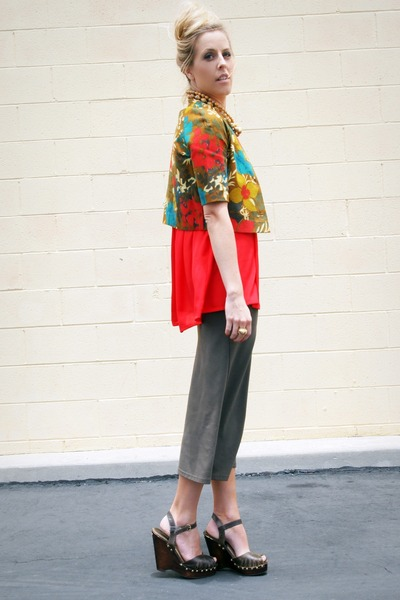 olive green thrifted vintage jacket - army green Repeat Boutique skirt - red Cro