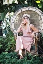 light pink vintage dress - ivory VSA Designs necklace