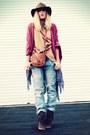 Qsw-jeans-forever-21-hat-forever-21-bag-vintage-cape