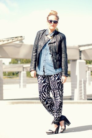 black H&M pants - black vintage jacket - navy H&M shirt
