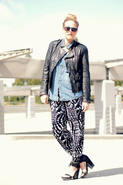 black H&M pants - black vintage jacket - navy H&M shirt