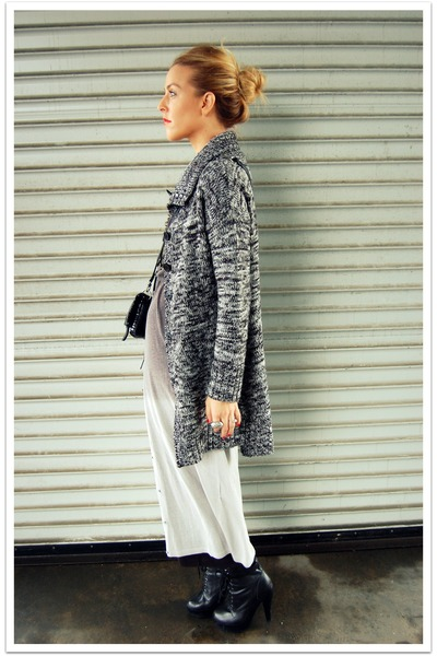 black QSW cardigan - charcoal gray COS dress - black Jeffrey Campbell boots