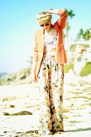 coral Forever 21 blazer - light orange H&M sunglasses - cream Forever 21 top