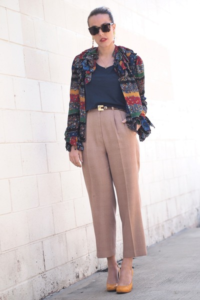 navy H&M t-shirt - camel thrifted pants - ruby red Elsewhere Vintage blouse