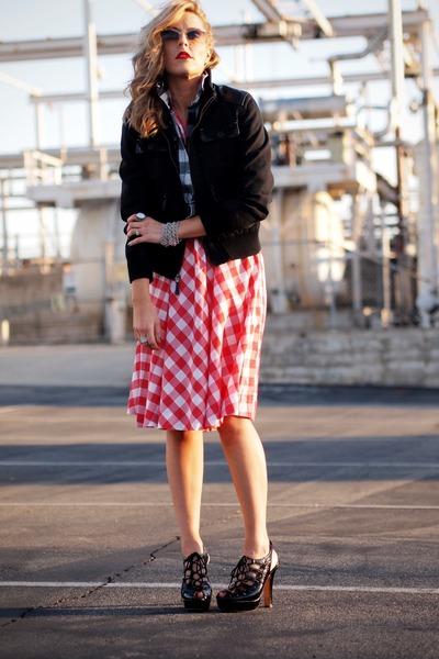 red vintage dress - black Nordstrom jacket - black Bebe sandals