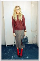 crimson thrifted vintage sweater - dark brown thrifted vintage skirt - dark brow