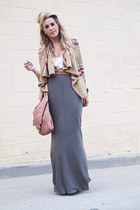 tan JCpenney cardigan - camel Kooba bag - olive green banana republic skirt