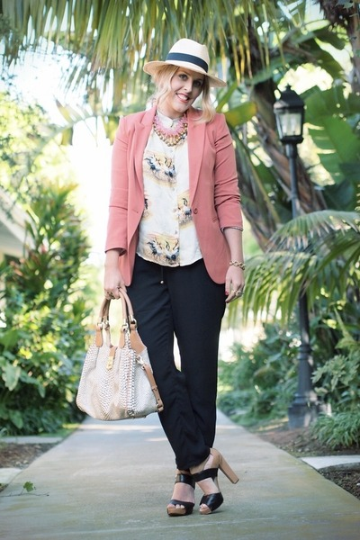 hot pink Forever 21 blazer - beige H&amp;M hat - black H&amp;M pants