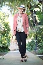 hot pink Forever 21 blazer - beige H&M hat - black H&M pants
