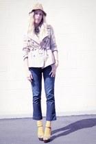 navy QSW jeans - camel Target jacket - olive green kohls sandals