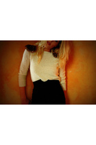 vintage sweater - black vintage skirt