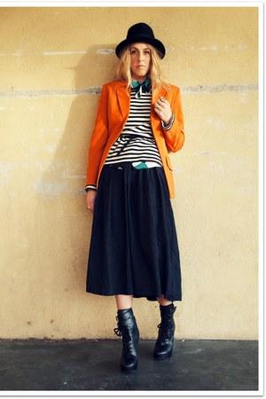 black Jeffrey Campbellampbell boots - black QSW sweater - carrot orange Vintage
